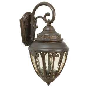 Olivier Aged Bronze Three-Light 21-Inch Outdoor Wall Mount with Champagne Hammered Glass