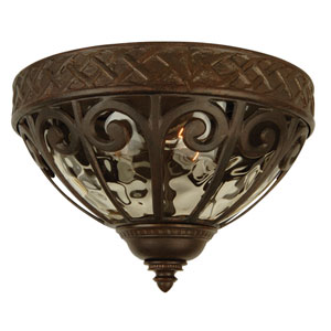 Olivier Aged Bronze Two-Light Outdoor Flush Mount with Champagne Hammered Glass