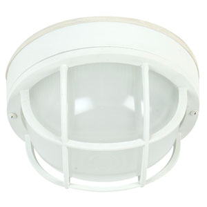 Bulkhead Matte White One-Light 10-Inch Outdoor Ceiling Mount