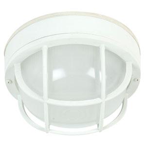 Bulkhead Matte White One-Light 10-Inch Outdoor Ceiling Mount