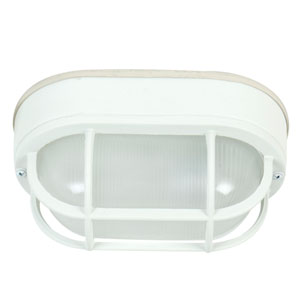 Bulkhead Matte White One-Light Five-Inch Outdoor Ceiling Mount