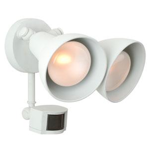 Matte White Two-Light Outdoor Flood Light with Motion Sensor