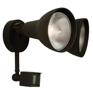 Matte Black Two-Light Outdoor Flood Light with Motion Sensor