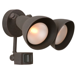 Rust Two-Light Outdoor Flood Light with Motion Sensor
