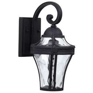 Parish Matte Black One-Light Outdoor Wall Mount with Clear Hammered Glass
