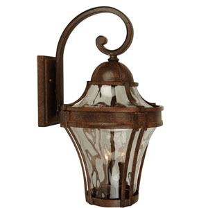 Parish Aged Bronze One-Light Outdoor Wall Mount with Clear Hammered Glass