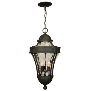 Parish Matte Black Three-Light Outdoor Pendant with Clear Hammered Glass