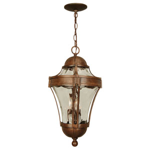 Parish Aged Bronze Three-Light Outdoor Pendant with Clear Hammered Glass