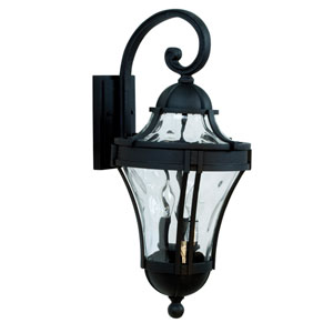 Parish Matte Black Three-Light Outdoor Wall Mount with Clear Hammered Glass