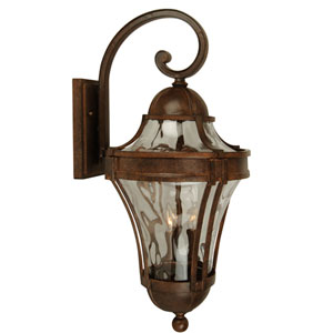 Parish Aged Bronze Three-Light Outdoor Wall Mount with Clear Hammered Glass