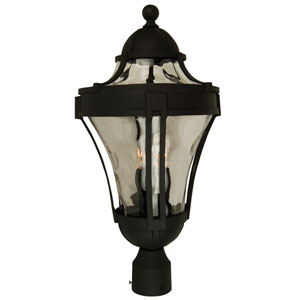 Parish Matte Black Three-Light Outdoor Post Mount with Clear Hammered Glass