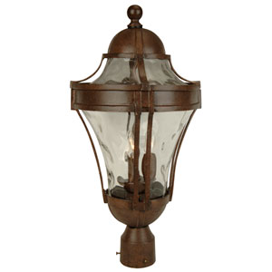 Parish Aged Bronze Three-Light Outdoor Post Mount with Clear Hammered Glass