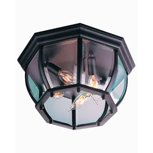 Matte Black Four-Light Outdoor Flush Mount with Clear Beveled Glass