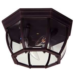 Rust Four-Light Outdoor Flush Mount with Clear Beveled Glass