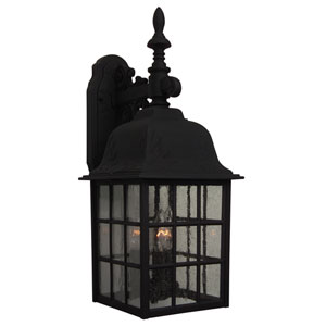 Grid Cage Matte Black Three-Light Outdoor Wall Lantern with Seeded Glass