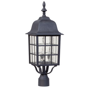 Grid Cage Matte Black Three-Light Outdoor Post Mount with Seeded Glass