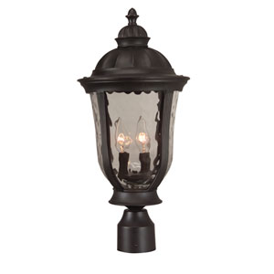 Frances Oiled Bronze Three-Light Outdoor Post Mount with Clear Hammered Glass