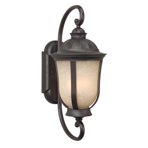 Frances II Oiled Bronze One-Light Outdoor Wall Mount with Tea Stained Scavo Glass