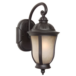 Frances II Oiled Bronze One-Light Outdoor Wall Lantern with Tea Stained Scavo Glass
