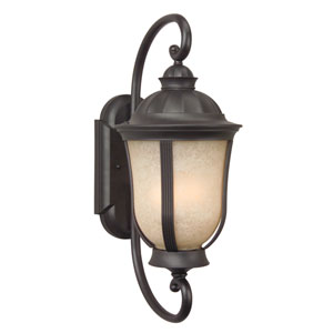 Frances II Oiled Bronze Two-Light 23-Inch Outdoor Wall Lantern with Tea Stained Scavo Glass