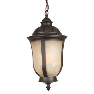 Frances II Oiled Bronze Two-Light Outdoor Pendant with Tea Stained Scavo Glass