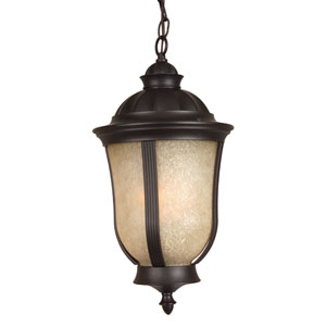 Frances II Oiled Bronze One-Light Energy Star Outdoor Pendant with Tea Stained Scavo Glass