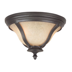 Frances II Oiled Bronze Two-Light Outdoor Flush Mount with Tea Stained Scavo Glass