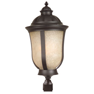 Frances II Oiled Bronze Three-Light Outdoor Post Mount with Tea Stained Scavo Glass