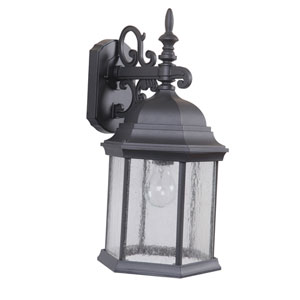 Hex Style Cast Matte Black One-Light 18-Inch Outdoor Wall Mount