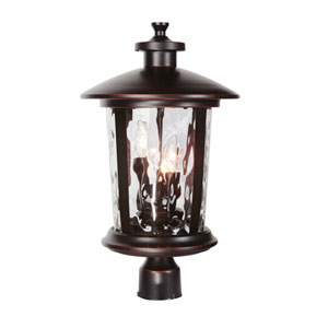 Summerhays Oiled Bronze Gilded Three-Light Outdoor Post Mount
