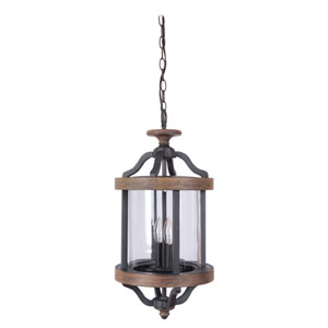 Ashwood Textured Black Two-Light Outdoor Pendant