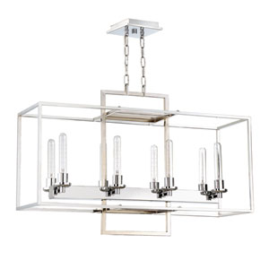 Cubic Chrome 12-Inch Eight-Light Island Pendant
