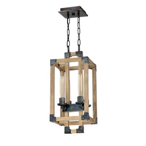 Cubic Fired Steel and Natural Wood 11-Inch Four-Light Foyer