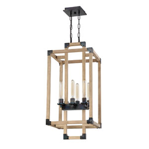 Cubic Fired Steel and Natural Wood 16-Inch Six-Light Foyer