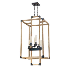 Cubic Fired Steel and Natural Wood 21-Inch Eight-Light Foyer