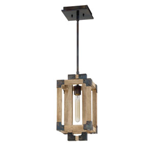 Cubic Fired Steel and Natural Wood 8-Inch One-Light Mini Pendant