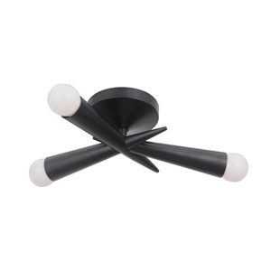 Nova Gloss Black 16-Inch Three-Light Semi-Flush