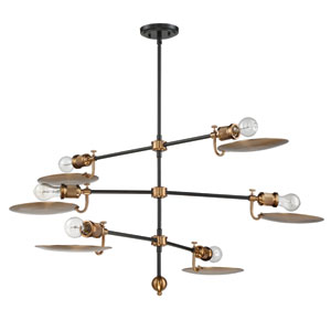 Eclipse Flat Black and Patina Aged Brass 44-Inch Six-Light Chandelier