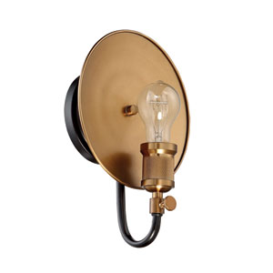 Eclipse Flat Black and Patina Aged Brass 9-Inch One-Light Wall Sconce
