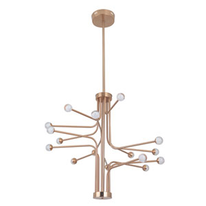 Solis Satin Brass 33-Inch Sixteen-Arm LED Chandelier