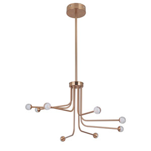 Solis Satin Brass 33-Inch Eight-Arm LED Chandelier