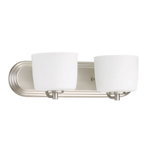 Clarendon Brushed Polished Nickel 18-Inch Two-Light Wall Sconce