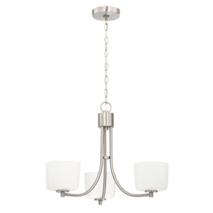 Clarendon Brushed Polished Nickel 22-Inch Three-Light Chandelier