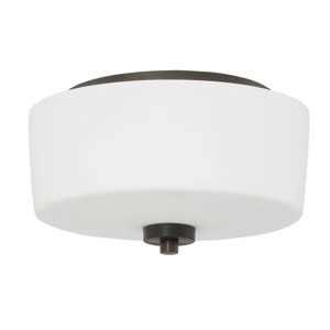 Clarendon Aged Bronze Brushed 12-Inch Two-Light Flush Mount