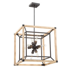 Tesseract Textured Black and Distressed Oak 21-Inch Eight-Light Pendant