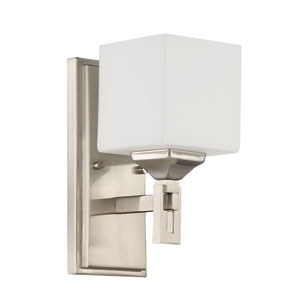 Urbane Brushed Polished Nickel 5-Inch One-Light Wall Sconce