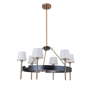 Parker Fired Steel and Satin Brass 34-Inch Six-Light Chandelier