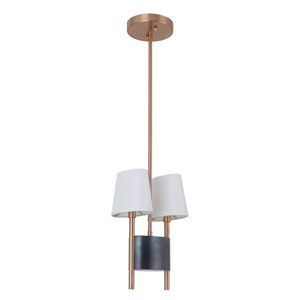 Parker Fired Steel and Satin Brass 6-Inch Two-Light Mini Pendant