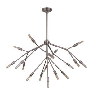 Aspen Brushed Polished Nickel 38-Inch Seventeen-Light Chandelier