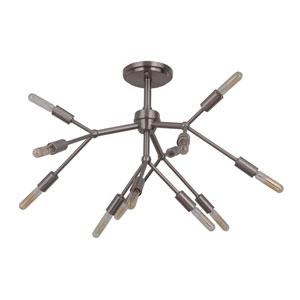 Aspen Brushed Polished Nickel 25-Inch Twelve-Light Semi-Flush